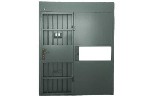 外手动平开栅栏内手电动平移监室门
